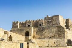 中世纪城堡在塔里法角,西班牙 免版税库存照片