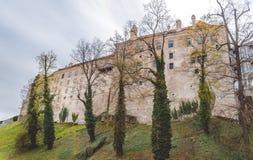 中世纪城堡在捷克克鲁姆洛夫,捷克共和国 免版税图库摄影