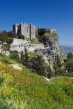中世纪城堡在Erice,西西里岛,意大利 库存图片