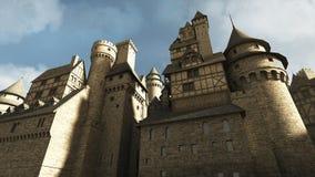 中世纪城堡墙壁 免版税库存图片