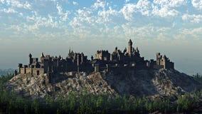 中世纪城堡的小山顶 免版税库存图片