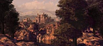 中世纪城堡的横向 库存照片