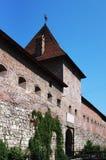 中世纪城堡的防御墙壁 库存照片