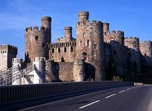 中世纪城堡, Conway,威尔士。 免版税库存图片