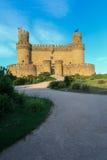 中世纪城堡-曼萨纳雷斯(西班牙) 库存图片