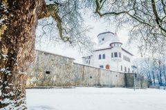 中世纪城堡Budatin附近的Zilina镇在冬天 库存图片