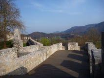 中世纪城堡Stari毕业在采列在斯洛文尼亚 库存照片