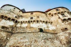 中世纪城堡Veliki塔博尔,克罗地亚的设防墙壁 免版税库存图片