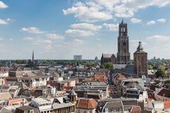 中世纪城市乌得勒支,荷兰空中都市风景  免版税库存图片