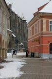 中世纪城市在冬天 免版税库存图片
