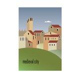 中世纪城市的议院 免版税库存图片