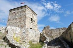 中世纪城楼和台阶 免版税库存图片
