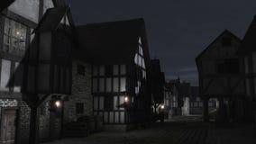 中世纪城镇街道在晚上 向量例证