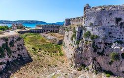 中世纪堡垒墙壁在Methoni,伯罗奔尼撒 库存图片