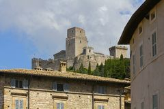 中世纪堡垒, Assisi,意大利 免版税库存图片