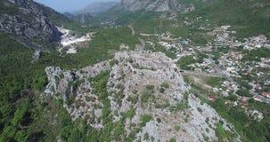 中世纪堡垒Haj-Nehaj在Sutomore,黑山 股票录像
