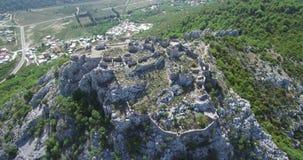 中世纪堡垒Haj-Nehaj在Sutomore,黑山 股票视频