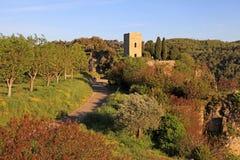 中世纪塔在有农村风景的村庄,普罗旺斯 免版税库存照片