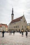 中世纪塔林,爱沙尼亚城镇厅和市政厅广场  库存图片