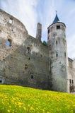 中世纪墙壁和塔与时钟 免版税库存照片