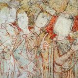 中世纪壁画在圣迈克尔教会里 免版税库存图片