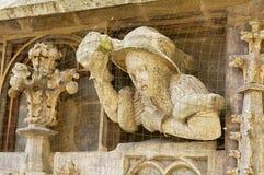 中世纪大厦入口装饰的外部细节在雷根斯堡,德国 图库摄影
