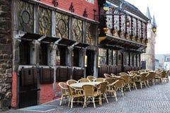 中世纪大厦在亚琛,德国 免版税图库摄影
