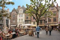 中世纪大厦在地方Plumereau 浏览 法国 库存图片