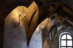 中世纪大厦的天花板在布拉格 免版税库存照片