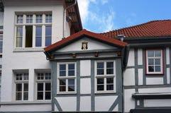 中世纪大厦的片段在Hameln,德国 免版税图库摄影