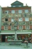 中世纪大厦被绘的门面在Isny 免版税库存照片