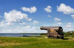 中世纪大炮在瑞典。 免版税库存照片