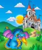 中世纪大蓝色城堡的龙 图库摄影