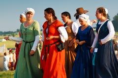 中世纪妇女时尚 库存照片