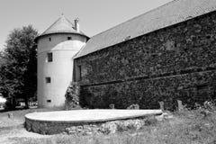 中世纪宫殿的好的幻想重建在村庄Racos,特兰西瓦尼亚 图库摄影