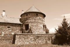中世纪宫殿的有趣的幻想重建在村庄Racos,特兰西瓦尼亚 库存图片