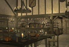 中世纪小酒馆 免版税库存照片