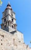 中世纪尖沙咀钟楼罗得岛海岛希腊 免版税库存照片
