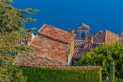 中世纪屋顶在Eze村庄在法国 免版税图库摄影