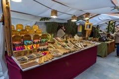 中世纪市场节日在西班牙村庄卡隆赫 库存照片