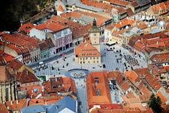中世纪布拉索夫鸟瞰图  免版税库存图片