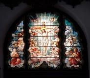 中世纪彩色玻璃单块玻璃 库存照片