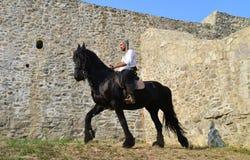 中世纪御马者战士 免版税库存照片