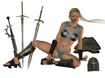 中世纪战士妇女 免版税图库摄影