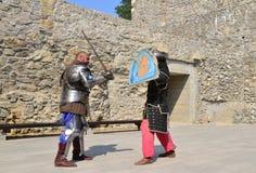 中世纪战斗机reenactors 库存图片