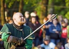 中世纪战斗的骑士 免版税库存图片