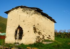 中世纪房子在Ushguli,最高的解决在欧洲,乔治亚 免版税库存图片