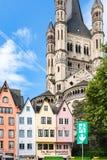 中世纪房子门面Fischmarkt的在科隆 库存照片