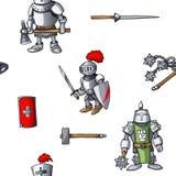 中世纪手拉的无缝的样式装甲的骑士战士武器背景 免版税库存图片
