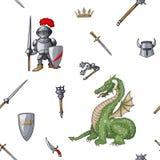 中世纪手拉的无缝的样式装甲的骑士战士武器背景 库存照片